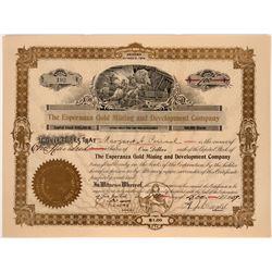 Esperanza Gold Mining Stock, Shasta County, Cal 1909  #110033