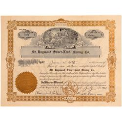 Mt. Raymond Silver-Lead Mining Co. Stock Certificate  #107141