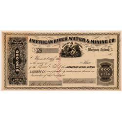 American River Water & Mining Co. Stock Certificate  #107322