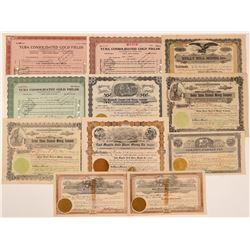 Oroville & Yuba Area Mining Stock Certificates  #107123