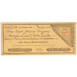 Gray Eagle Mining Company Stock Certificate  #104414
