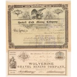 Two Different Placer County, California Mining Stock Certificates  #100846