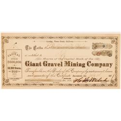 Giant Gravel Mining Company Stock Certificate  #100820