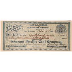 Sonoma Pacific Coal Company Stock, Santa Rosa, 1889  #110042