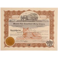 Mountain Lion Consolidated Mining Co. Stock Certificate  #107118