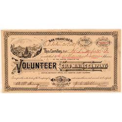 Volunteer Gold Mining Co. Stock Certificate  #100822