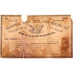 Oriental Gold Mill & Mining Co. of California Stock Certificate   #100983