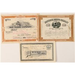 Three Different California Mining Stock Certificates  #100742