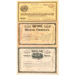 Three Different California Mining Stock Certificates  #100743