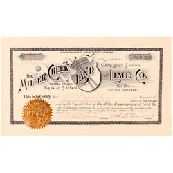 Miller Creek Land & Lime Co. Stock Certificate  #91567
