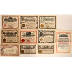 Ten Different Boulder County Stock Certificates  #109086