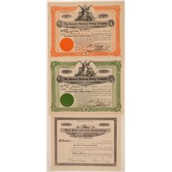 Three Monarch District Mining Stock Certificates  #107668