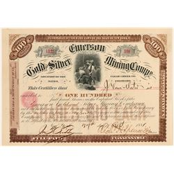 Emerson Gold & Silver Mining Co. Stock Certificate  #100863