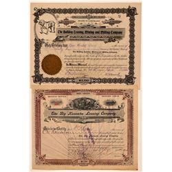Two Different Creede, Colorado Mining Stock Certificates  #107681