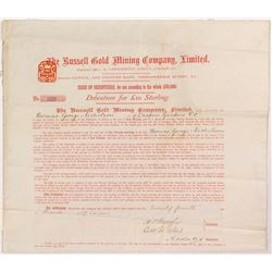 Russell Gold Mining Company Issue of Debenture  #55066