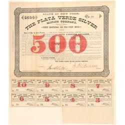 Plata Verde Silver Mining Company Bond  #100898