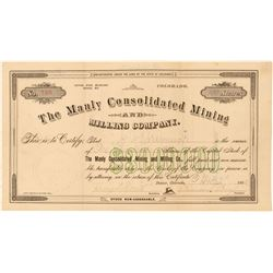 Manly Consolidated Mining & Milling Co. Stock Certificate  #91739