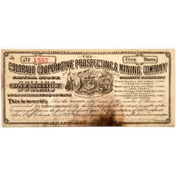 Colorado Co-Operative Prospecting & Mining Co. Stock Certificate  #104470