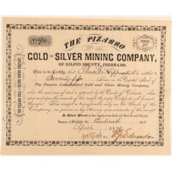 Pizarro Gold & Silver Mining Co. Stock Certificate  #91799