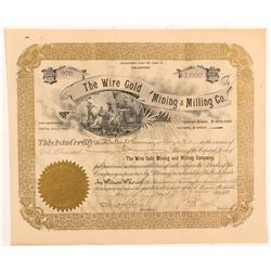 Wire Gold Mining & Milling Co. Stock Certificate  #103500