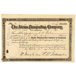 Adams Prospecting Company of Colorado Stock Certificate  #91750