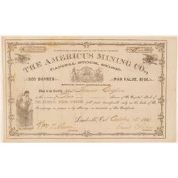 Americus Mining Co. Stock Certificate Issued to Founder of Glenwood Springs  #91596