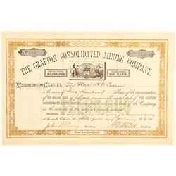 Grafton Consolidated Mining Company Stock Certificate  #91845