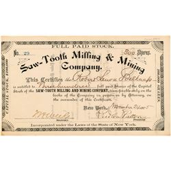 Saw-Tooth Milling & Mining Company Stock Certificate  #104446
