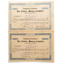 Goldore Mining Company Stock Certificate Pair  #91794