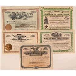 Five Different Pueblo County, Colorado Mining Stock Certificates  #107699