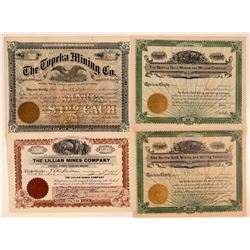 Four Russell Gulch, Colorado Mining Stock Certificates  #107672