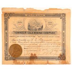 Amador-Lilla Mining Company Stock Certificate  #91817