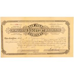 San Juan & New Jersey Discovery & Mining Co. Stock Certificate   #104464