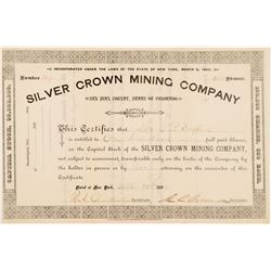 Silver Crown Mining Company Stock Certificate  #104317