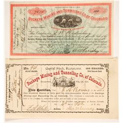 Two Different Buckeye Mining & Tunneling Co. of Colorado Stock Certificates  #86739