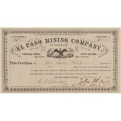 El Paso Mining Co. of Colorado Stock Certificate  #100864