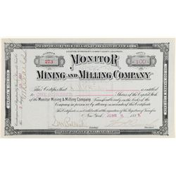 Monitor Mining & Milling Company Stock Certificate  #91842