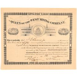 Queen of the West Mining Company Stock Certificate  #91795