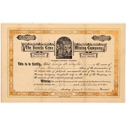 Sancta Crux Mining Company Stock Certificate  #104475