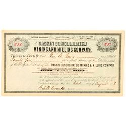 Baskin Consolidated Mining & Milling Co. Stock Certificate  #91565