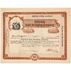 Colorado Gold Dredging Company Stock Certificate, 1906  #58574