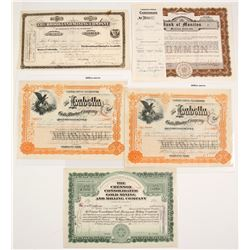 Colorado Mining and Bank Stocks (5 count)  #61730