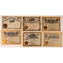 Six Different Colorado Mining Stock Certificates  #107694