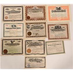 Ten Different Colorado Stock Certificates  #105969