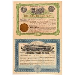 "Two ""Mascot"" Mining Company Stock Certificates  #107293"