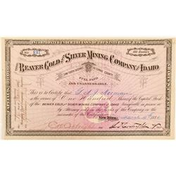 Beaver Gold & Silver Mining Co. of Idaho Stock Certificate  #100953