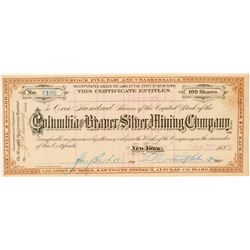 Columbia & Beaver Silver Mining Co. Stock Certificate  #100948