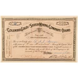 Columbia Gold & Silver Mining Co. of Idaho Stock Certificate  #100947