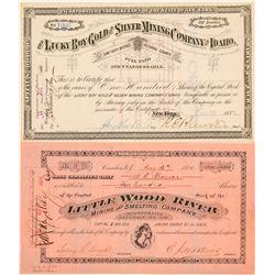 Two Alturas County, Idaho Mining Stock Certificates  #101572