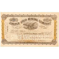 Juniper Gold Mining Company Stock Certificate  #101573